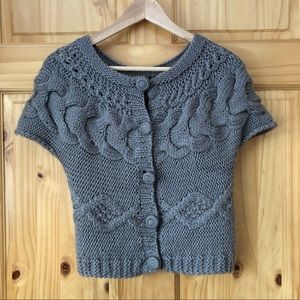 Lucky Brand hand knit cabled crop sweater size L